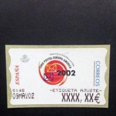 Sellos: ESPAÑA.AÑO 2002. FORO POSTAL. ATMS ETIQUETA POSTAL DE AJUSTE ESTRECHA.. Lote 207221425