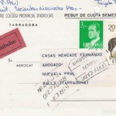 Sellos: TARJETA CONTRA REEMBOLSO DEL IL.LUSTRE COL.LEGI D'ADVOCATS DE TARRAGONA. Lote 208121247