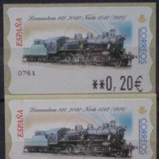 Sellos: ETIQUETAS ATM - LOCOMOTORA 1041- SERIE 3 VALORES EN €UROS NUEVAS **. Lote 208904283