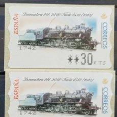 Sellos: ETIQUETAS ATM - LOCOMOTORA 1041- SERIE 3 VALORES EN PESETAS - NUEVAS **. Lote 208904325