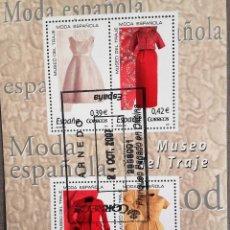 Sellos: ESPAÑA AÑO 2007, HOJA BLOQUE 4 SELLOS MUSEO DEL TRAJE, MODA ESPAÑOLA, USADO, CON GOMA. Lote 208922622