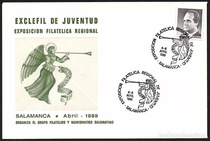 SOBRE CONM. EXCLEFIL DE JUVENTUD - SALAMANCA 1989 (Sellos - España - Juan Carlos I - Desde 1.986 a 1.999 - Cartas)