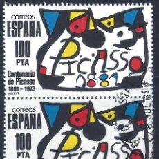 Sellos: EDIFIL 2609 HOMENAJE A PABLO RUIZ PICASSO 1981 (PAREJA). MATASELLOS DE 28 DE JULIO DE 1981.. Lote 210692719
