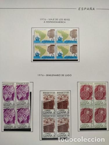 ESPAÑA SELLOS AÑO 1976 EN BLOQUE DE 4 MONTADO EN HOJAS EDIFIL CON FILO NEGROS VER IMAGENES HEBS70 76 (Sellos - España - Juan Carlos I - Desde 1.975 a 1.985 - Nuevos)
