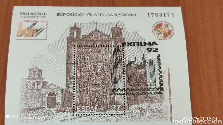 HOJA BLOQUE EXFILNA 92, CON SELLO DE LA, EXPOSICIÓN, MUY DIFÍCIL, VER (Sellos - España - Juan Carlos I - Desde 1.986 a 1.999 - Nuevos)