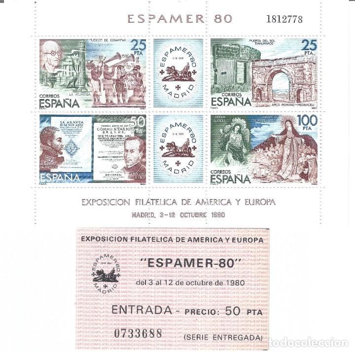 EDIFIL 2583 ESPAMER 80. HOJITA BLOQUE. INCLUYE ENTRADA A LA EXPOSICIÓN. MNH ** (Sellos - España - Juan Carlos I - Desde 1.975 a 1.985 - Nuevos)