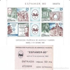 Sellos: EDIFIL 2583 ESPAMER 80. HOJITA BLOQUE. INCLUYE ENTRADA A LA EXPOSICIÓN. MNH **. Lote 213849363
