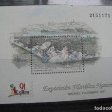 Sellos: -1991, HOJITA BLOQUE EXFILNA-91, EDIFIL 3145. Lote 214207107