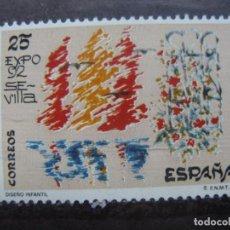 Sellos: -1992, DISEÑO INFANTIL, EDIFIL 3153. Lote 214243991