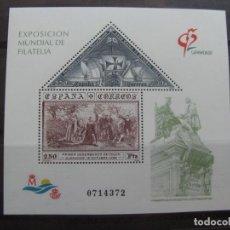 Sellos: -1992,HOJITA BLOQUE EXPOSICION MUNDIAL DE FILATELIA GRANADA92, EDIFIL 3195. Lote 214244806