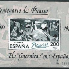 Sellos: 1981. EDIFIL HOJITA 2631**MNH. YT HB 29. CENTº DE PICASSO. EL GUERNICA. PINTURA/PAINTING. ARTE.. Lote 214429148