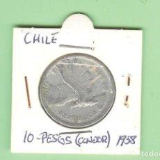 Sellos: CHILE. 10 PESOS (UN CONDOR) 1958. ALUMINIO. KM#181. Lote 215009851
