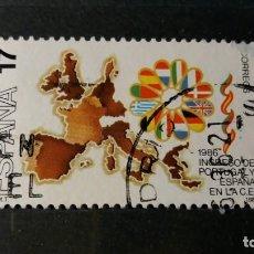 Sellos: SELLO USADO. INGRESO PORTUGAL Y ESPAÑA EN COMUNIDAD EUROPEA. MAPA EUROPA. EDIFIL 2826.. Lote 215404713