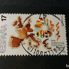 Sellos: SELLO USADO. INGRESO PORTUGAL Y ESPAÑA EN COMUNIDAD EUROPEA. MAPA EUROPA. EDIFIL 2826.. Lote 215404720