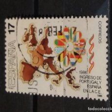 Sellos: SELLO USADO. INGRESO PORTUGAL Y ESPAÑA EN COMUNIDAD EUROPEA. MAPA EUROPA. EDIFIL 2826.. Lote 95473587