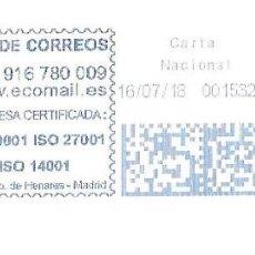Sellos: SOBRE ENTERO. FRANQUEO MECANICO AZUL ENTIDAD COLABORADORA. IMPRONTA AZUL CARTELA: ECOLOGICAL MAILING. Lote 215466360