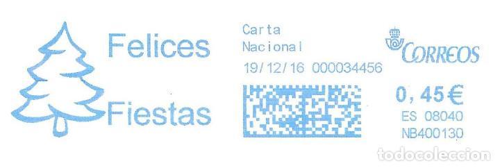 SOBRE ENTERO. FRANQUEO MECANICO. IMPRONTA AZUL CARTELA: FELICES FIESTAS (Sellos - España - Juan Carlos I - Desde 2.000 - Cartas)