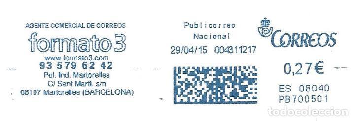 SOBRE ENTERO. FRANQUEO MECANICO AZUL ENTIDAD COLABORADORA. IMPRONTA AZUL CARTELA: FORMATO 3. (Sellos - España - Juan Carlos I - Desde 2.000 - Cartas)