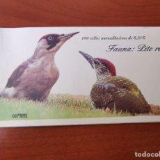 Sellos: 2008-ESPAÑA TALONARIO EDIFIL 4376 C PITO REAL CARNET INCOMPLETO CON 12 SELLOS FAUNA Y FLORA. NUEVOS. Lote 215817657