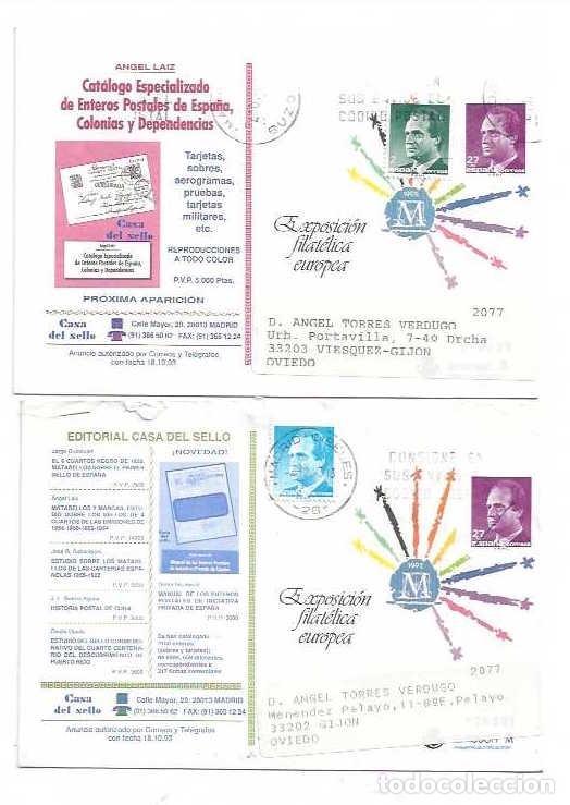 1993 DOS SOBRES ENTERO POSTALES PRIVADOS , CASA DEL SELLO , ANGEL LAIZ , CIRCULADOS (Sellos - España - Juan Carlos I - Desde 1.986 a 1.999 - Cartas)