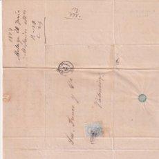 Sellos: PREFILATELIA L84 ENVUELTA Y CARTA 1873 DIRIGIDA A VALENCIA CON SELLO DE 10 CENT Y MATASELLOS. Lote 216460528