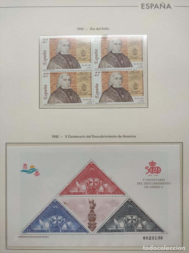 Sellos: Hojas Edifil año 1992 en bloque de 4. Suplemento Edifil España 1992 montado en transparente HEB90 - Foto 2 - 201152231