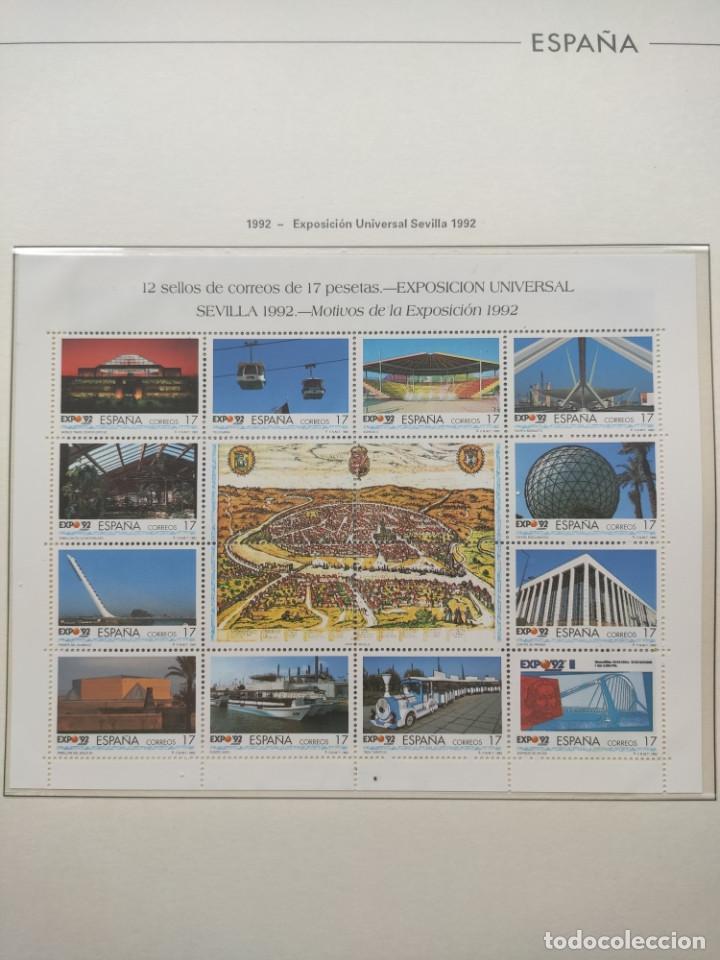 Sellos: Hojas Edifil año 1992 en bloque de 4. Suplemento Edifil España 1992 montado en transparente HEB90 - Foto 4 - 201152231