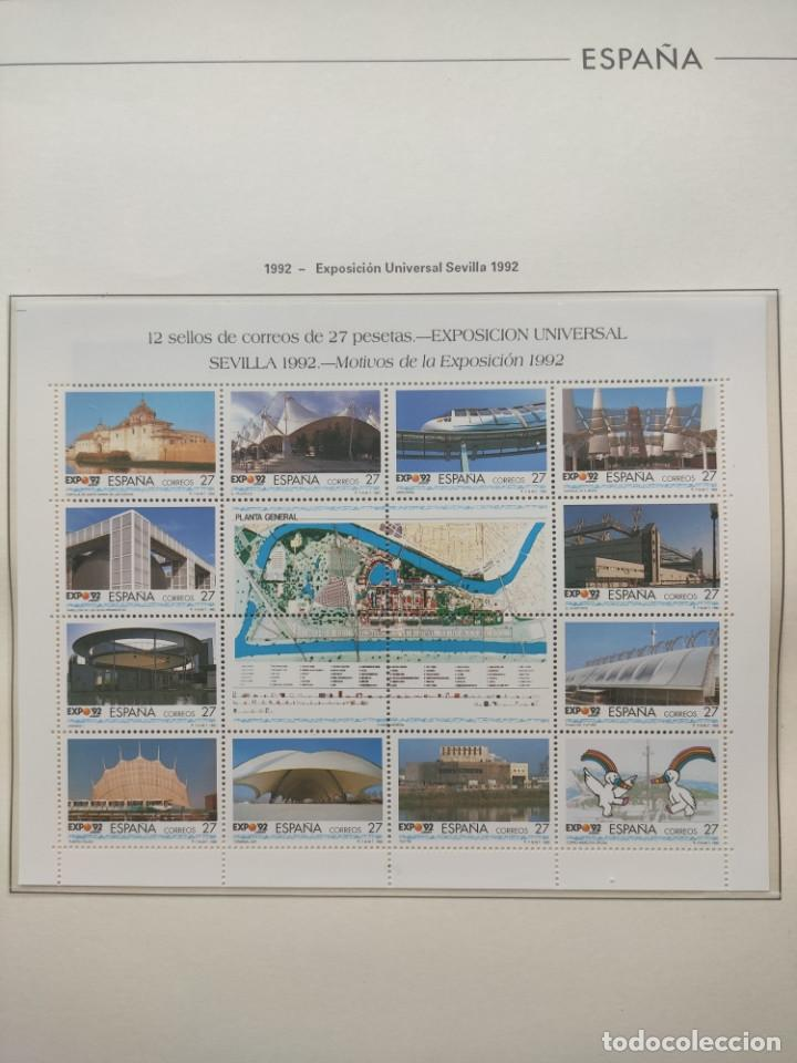 Sellos: Hojas Edifil año 1992 en bloque de 4. Suplemento Edifil España 1992 montado en transparente HEB90 - Foto 5 - 201152231
