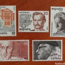 Sellos: ESPAÑA, N°2880/84 MNH, CENTENARIOS 1987 (FOTOGRAFÍA REAL). Lote 217135020