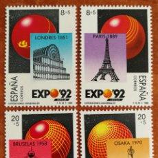 Sellos: ESPAÑA, N°2990/93 MNH, EXPOSICIÓN UNIVERSAL DE SEVILLA 1992,1987 (FOTOGRAFÍA REAL). Lote 263212025