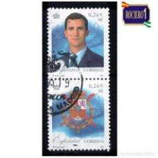 Francobolli: ESPAÑA 2001. EDIFIL SH 3856 A Y SH 3856 C. DON FELIPE DE BORBÓN Y ESCUDO REAL. USADO. Lote 217374382