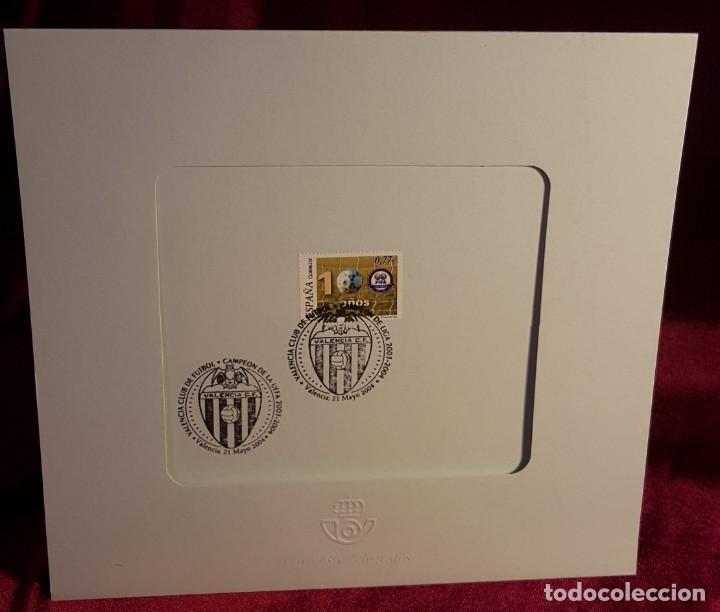 DÍPTICO, ESPAÑA,2004, CENTENARIO FIFA, EDIFIL 4082,DOS MATASELLOS CONMEMORATIVO DEL VALENCIA C.F. (Sellos - España - Juan Carlos I - Desde 2.000 - Cartas)