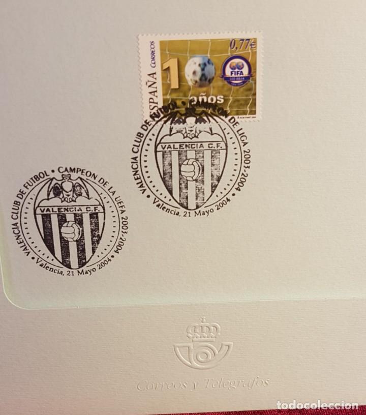 Sellos: Díptico, España,2004, centenario Fifa, edifil 4082,dos matasellos conmemorativo del Valencia C.F. - Foto 2 - 218111741