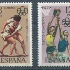 Sellos: 1976. EDIFIL 2340/3**MNH. JUEGOS OLÍMPICOS MONTREAL. TRAINERAS. LUCHA. BALONCESTO. BOXEO. DEPORTES.. Lote 218136248
