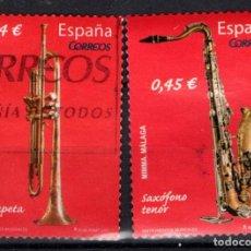 Sellos: ESPAÑA 4549/50 - AÑO 2010 - INSTRUMENTOS MUSICALES DE VIENTO. Lote 218596502