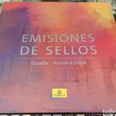 Sellos: LIBRO ÁLBUM CORREOS AÑO 2004 - EMISIONES DE SELLOS ESPAÑA Y ANDORRA NUEVO. Lote 218807890