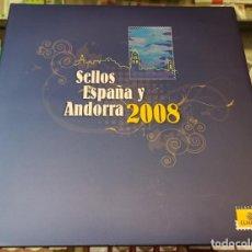 Sellos: LIBRO ÁLBUM CORREOS AÑO 2008 - EMISIONES DE SELLOS ESPAÑA Y ANDORRA NUEVO. Lote 218810431