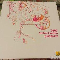 Sellos: LIBRO ÁLBUM CORREOS AÑO 2009 - EMISIONES DE SELLOS ESPAÑA Y ANDORRA NUEVO. Lote 218812185