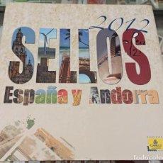 Sellos: LIBRO ÁLBUM CORREOS AÑO 2012 - EMISIONES DE SELLOS ESPAÑA Y ANDORRA NUEVO. Lote 218812828
