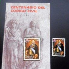 Timbres: ESPAÑA - 1988 - EDIFIL 2968 /**/ CENTENARIO DEL CÓDIGO CIVIL + FOLL.. INFORMACIÓN 26/88. Lote 218989713