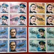 Sellos: SELLOS ESPAÑA 1980 SERIE PIONEROS DE LA AVIACION (COMPLETA) - 2595 A 2598 EN BLOQUE DE 4 - NUEVOS. Lote 219025540