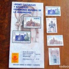 Timbres: ESPAÑA - 1991 - EDIFIL 3146/49 /**/ PATRIMONIO MUNDIAL DE LA HUMANIDAD + BOLL. INFORMACIÓN 19/91. Lote 219327256