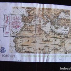 Selos: ESPAÑA. HOJA BLOQUE. CENTENARIO REAL SOCIEDAD GEOFRÁFICA. CON MATASELLOS.. Lote 219604122
