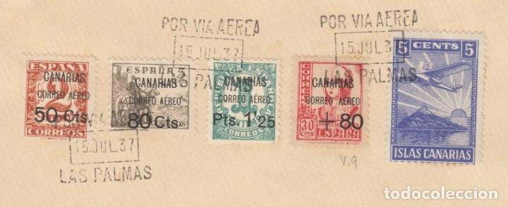 Sellos: SOBRE DEL AÑO 1937 LAS PALMAS - Foto 2 - 219751950