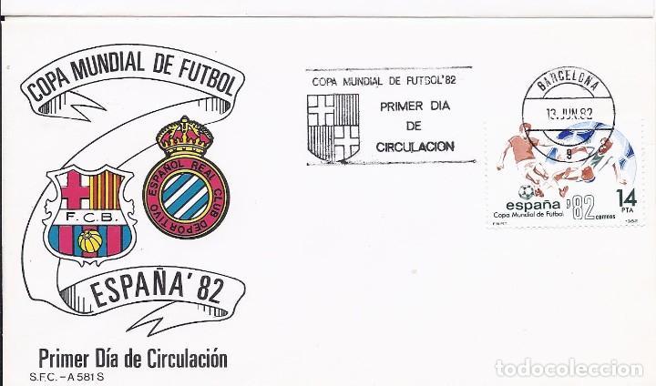 SPD COPA MUNDIAL DE FUTBOL ESPAÑA 82 SEDE BARCELONA CON ESCUDOS DEL F.C.BARCELONA Y ESPAÑOL (Sellos - España - Juan Carlos I - Desde 1.975 a 1.985 - Cartas)