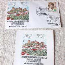 Sellos: 1983 MONFORTE DE LEMOS EXPOSICIÓN FILATÉLICA JUVENTUD 1983 MATASELLO SOBRE Y TARJETA. Lote 220594733