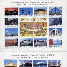 Sellos: LOTE 2 MINI PLIEGOS SELLOS EXPO DE SEVILLA 92 VALORES 17 Y 27 PESETAS. Lote 220918177