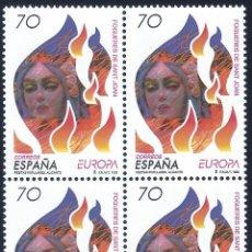 Sellos: EDIFIL 3542 EUROPA 1998. FIESTAS POPULARES. FOGUERES DE SANT JOAN (BLOQUE DE 4). MNH **. Lote 220953016