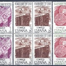 Sellos: EDIFIL 2356-2358 BIMILENARIO DE LUGO 1976 (SERIE COMPLETA EN BLOQUES DE 4). MNH **. Lote 220974298