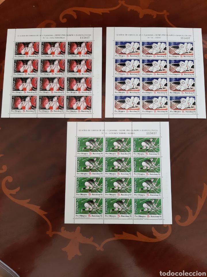 MISMA NUMERACIÓN MINI PLIEGO BARCELONA 1992 EDIFIL 3054/56 NUMERADA 115037 (Sellos - España - Juan Carlos I - Desde 1.986 a 1.999 - Nuevos)